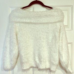 Fuzzy cowl neck sweater